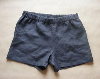 Simply Mens Linen Shorts / Asphalt / 100% Linen / Men's Linen Shorts / Boxers / Boxer Shorts