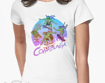 Cowabunga retro skateboarding tee T-shirt inspired by TMNT Teenage Mutant Ninja Turtles cartoon comic show videogame
