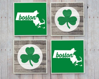 Boston Celtics Coasters, Boston Coasters, Celtics Coasters, Boston Celtics, Boston Gift, Boston Massachusetts, Boston Strong Boston Shamrock