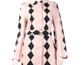 Pringle pink checked trench coat size 12