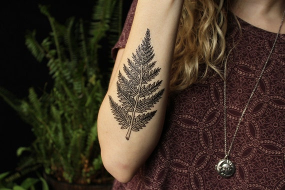 Fern Leaf Temporary Tattoo, Forest Leaves Tattoo, Black Line Tattoo Design, Nature Tattoo