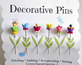 Decorative Sewing Pins - Push Pins - Pin Topper - Scrapbooking Pins - Bulletin Board Pins - Fancy Pins - Quilting Pins - Thread Catcher Pins