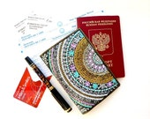 Leather and vegan leather Passport Holder. Hand painted Travel gift for woman. Passport cover. Mandala art. Leather passport wallet.