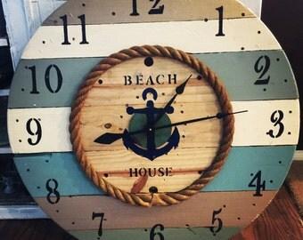"""40"""" Giant Custom WOOD SPOOL CLOCK reel clock beach"""