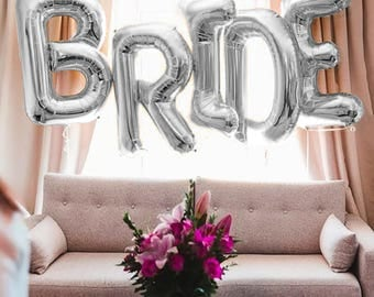 "BRIDE Letter Balloons | 40"" Silver Letter Balloons 