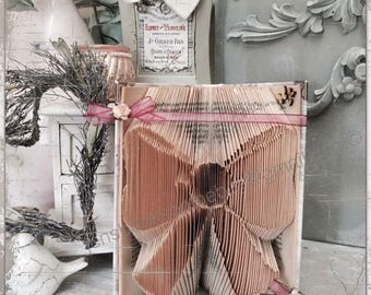 Folded book art, paper gift, book origami, book fold, book, beautiful bow, birthday, nursery shelf, book lover, bookworm, book sculpture,