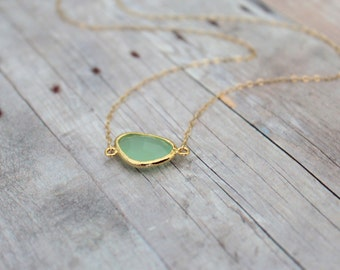 ANDREA - Mint Green Framed Glass Stone, Gold Filled 1.2mm Cable Chain, Necklace