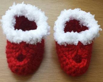 Crochet booties, doll, preemie baby, doll shoes, doll accessories, doll clothes, preemie booties, red, baby girl booties, handmade booties.