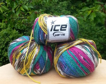 Knitting yarn. Lot of 3 Skeins Ice Yarns. Multicolored yarn. Acrylic yarn. Yarn for knitting. Vegan Friendly!