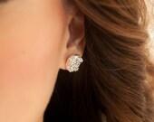 Druzy Earrings   Crown Stud Earrings   Silver Faux Druzy w/ Crown Bezels Studs   Gifts for Her   Bridesmaid Gift   Silver Earrings  