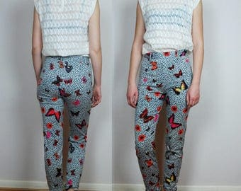 vintage 90's KENZO high waist stretch Butterfly print skinny jeans Small