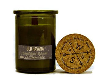 OLD HAVANA™ (Cuba) Sweet Tobacco + Mahogany - Soy Candle - Wood Wick - Recycled Glass Jar - Wanderlust Scents - Travel Gift