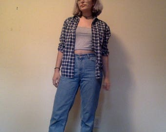 Blue and White Flannel, Plaid Flannel, Plaid Grunge 90s Button Up