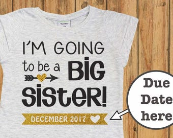 Personalized Big Sister Shirt, Pregnancy Announcement, I'm Going to be a Big Sister, Big Sister Shirt. Big Sister Announcement. sister gift