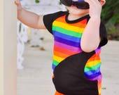 Rainbow Pocket Tee Baseball Tee Unisex Baby Shirt Baby Tees Toddler Tees Baby Shirts Toddler Shirts Striped Shirts Raglan Tee Shirt Trendy