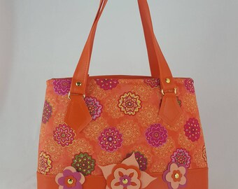 Tangerine Tango faux-leather/decorative cloth panel purse/handbag/top handle/satchel/carryall/shoulder bag/tote/satchel/pocketbook/crossbody
