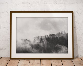 foggy forest photography, black and white photography, black white print, fog wall art, foggy woods, mountains wall print, digital printable