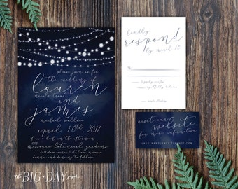 Midnight Stars String Lights Wedding Invitation Suite • We customize it, You print it • Wedding Invitation Romantic RSVP Postcard Suite