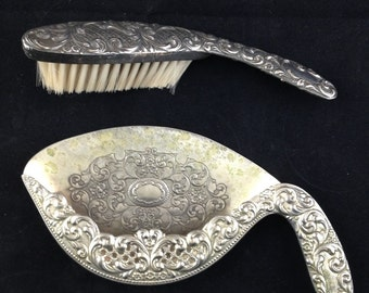 Vintage Silverplate Side Sweeper Crumb Tray & Brush