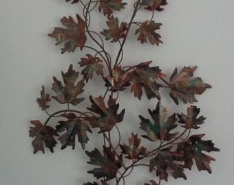 Vintage Jere Era Copper Welded Metal Maple Leaf Tree Branch, Wall Sculpture