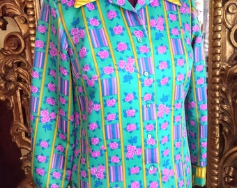 Vintage 1960's Alex Coleman California Colorful Blouse