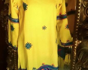 Vintage 70's Handmade Yellow Boho Tunic