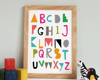 Alphabet Poster, Nursery Art, Alphabet Print, Colourful Alphabet Print, Nursery Decor, ABC Wall Art, ABC Print, Kids Room Decor, Children's
