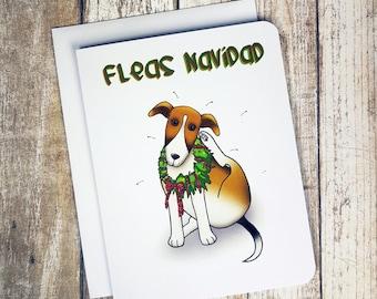 Funny Christmas Card - FLEAS NAVIDAD - Christmas Card - Pun Christmas Card - Dog Card - Funny Card - Feliz Navidad Card - Holiday Card