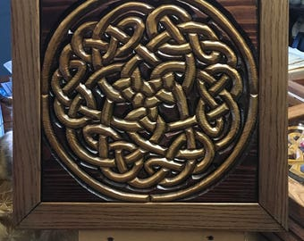 Hand-Carved Wood Intarsia Wall Art Celtic Royal Knot