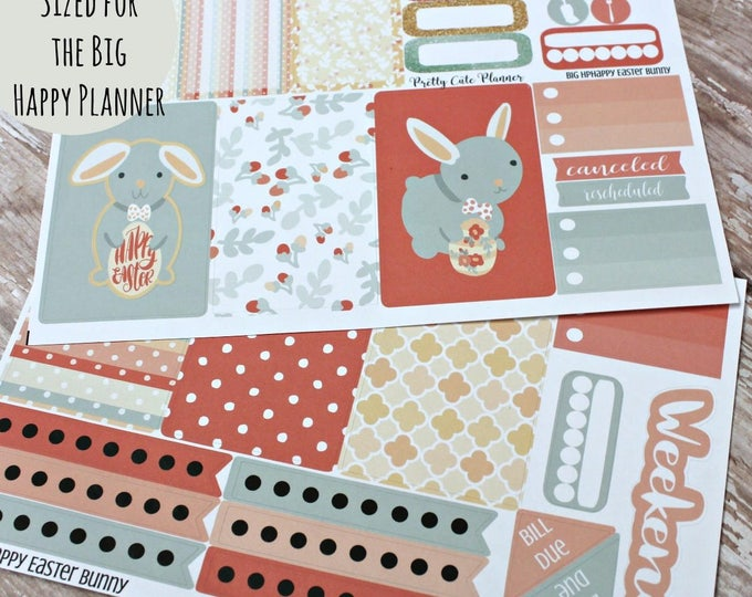 BIG Happy Planner Planner Stickers -Easter Planner Stickers - Planner Stickers - Happy Planner - Happy Easter Bunny  - Spring Stickers