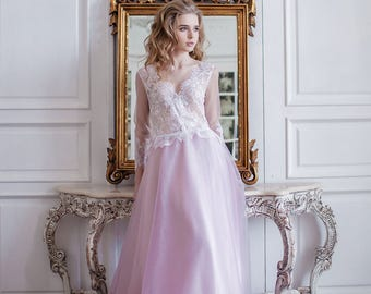 Dress of dusty pink color Elise, lace wedding dress with sleeves, color wedding dress, bohemian wedding dress, lace wedding dress