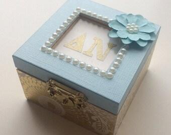 Blue Blossoms: Personalized Sorority pin box, Handmade, Choose any Sorority