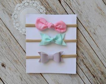 Headband Set of 3, Thin nude nylon headbands, felt bow, leather bow, felt rose, newborn headbands, headband gift set