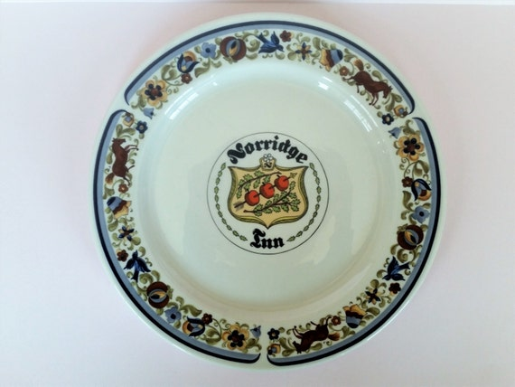 NORRIDGE INN Restaurant Plate | Villeroy & Boch Troubadour Pattern Dinner Plate | 1960's Chicago Illinois History | Medieval Supper Club