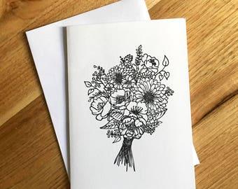 Handmade Floral Bouquet Greeting Card / Botanical Illustration / Black & White / Adult Colouring