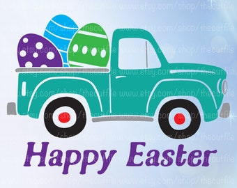 Happy Easter SVG, old vintage truck with Easter Egg, vector clip art, cut file for silhouette, heat transfer