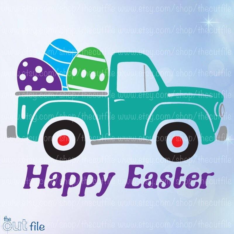 Happy Easter Svg Old Vintage Truck With Easter Egg Vector