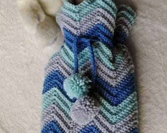 Hot Water Bottle cover - Blue & grey