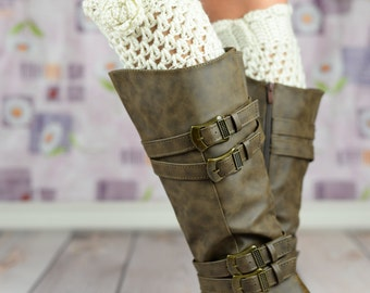Ivory Crochet Boot Cuffs With Rose Flower