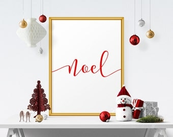 Noel, Christmas Wall Decor, Festive Decoration, Wall Art Printable, Typography Poster, Christmas Art, Holiday Decor, Instant Download