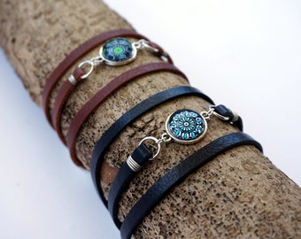 Triple Wrap Leather Mandala Bracelet for Her - Boho Wrap Bracelet - Yoga Bracelet Jewelry -Black Leather Bracelet - Sacred Geometry Bracelet