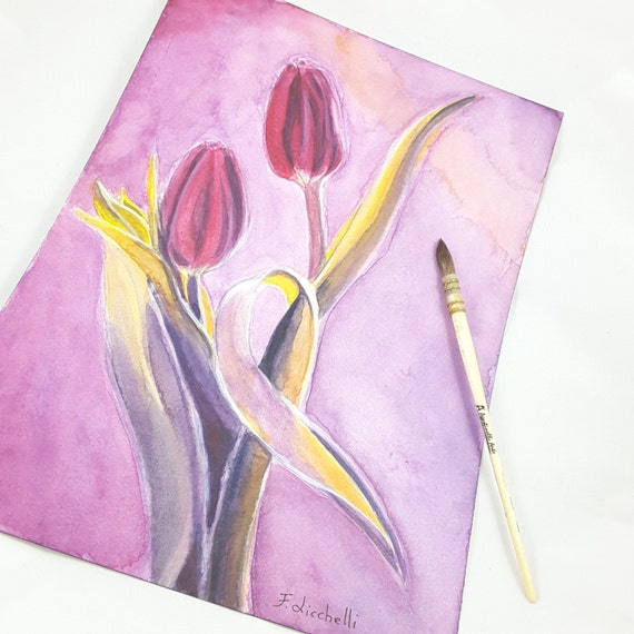 Red tulips, original art by Francesca Licchelli, watercolor on paper, gift idea for birthday, wall art, home decoration, lounge decore.