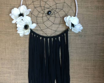 Black and White Floral Dream Catcher