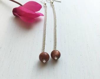 Goldstone Earrings, Sandstone Earrings, Brown Goldstone, Gemstone Earrings, Long Earrings, Dangle Clip On, Boho Earrings, Handmade Gift
