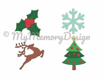 Fill stitch christmas embroidery design set - SET of 4 - Mini embroidery design - Holiday design - Machine embroidery - INSTANT DOWNLOAD