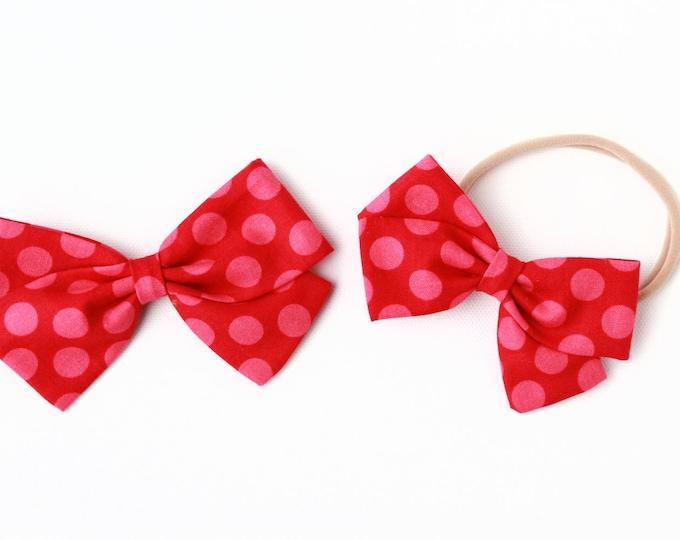 Polka Dot Hair Bow - Red With Pink Polka Dots - Baby Headband and Large Bows
