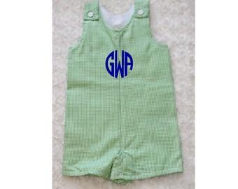 Boys John Johns Overalls - Spring & Summer Lime Green Gingham Check - Add Name