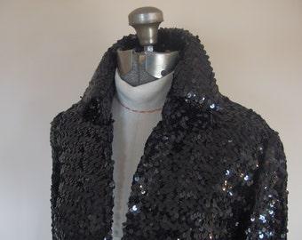 1970s Women's Black Sequin Evening Jacket