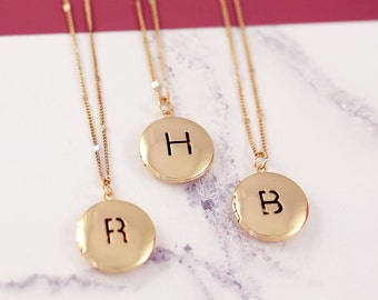 Sister Necklace Set | Initial Locket | Three BFF Necklace | Personalized Locket | Friendship Necklaces | Picture Locket | Letter Necklace