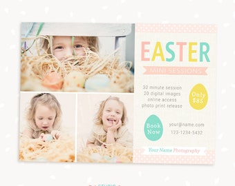 Easter Mini Session Template, Easter Mini Sessions, Marketing Board, Photoshop Template, Photography Marketing Set, Kit, Linen Easter Eggs